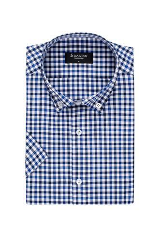 Koszula Krótki Rękaw Krata Blue